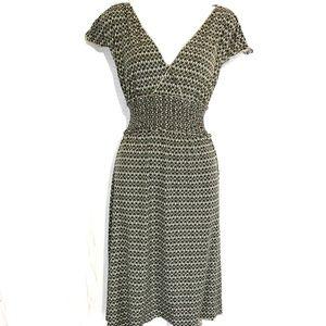 MAX STUDIO Green Brown Jersey Knit Dress ~sz M